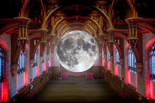Mock up of Luke Jerram's Museum of the Moon in The Great Hall, Wills Memorial Building