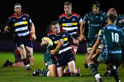 University student Ben Gompels in action with Bristol Rugby