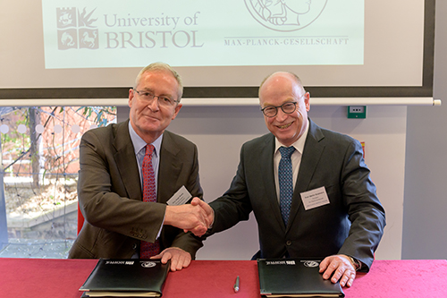 Professor Hugh Brady, Vice-Chancellor and President of the University of Bristol and Professor Martin Stratmann, President of the Max Planck Society.