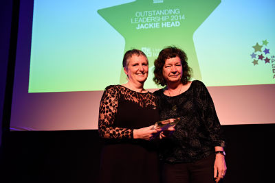 A photo of Jackie Head, Head of Student Counselling and winner of the Award for Outstanding Leadership at the 2014 Professional Services Excellence Awards ceremony, with Wendy Larner, Dean of the Faculty of Social Sciences and Law.