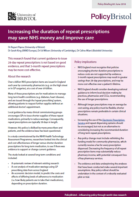 2018: Policy Briefing 60 | Centre for Academic Primary Care