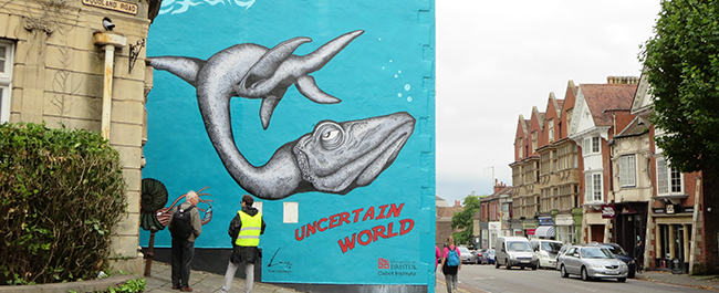 The Uncertain World mural on Woodland Road, a collaboration between local artist Alex Lucas and the Cabot Institute