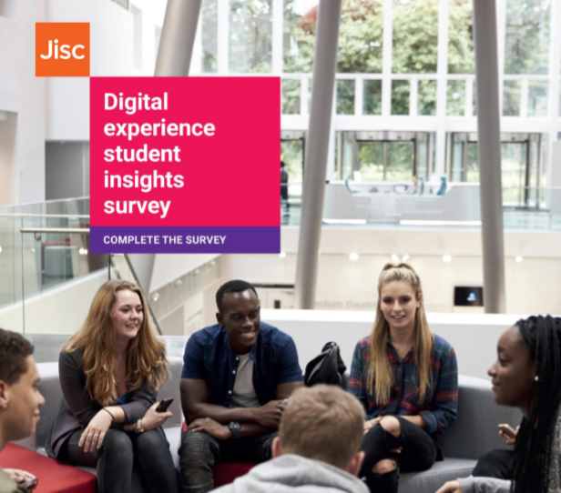 Group of students chatting. Jisc, Digital experience student insights survey. Complete the survey.