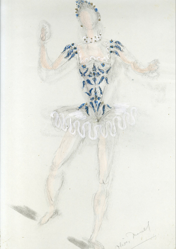 Oliver Messel's design for the bluebird dress from 1976 American Ballet Theatre New York production of Sleeping Beauty.