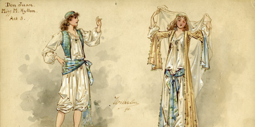 Wilhelm design for Don Juan (Millie Hylton) Act 3, MM_DESIGNS_326 Don Juan (burlesque, Gaiety Theatre 1893)